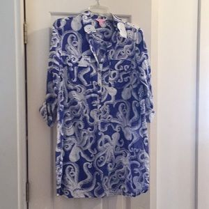 Lilly pulitzer octopus blue/white top/cover-up Med